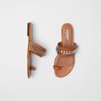 Burberry Chain Detail Leather Sandals