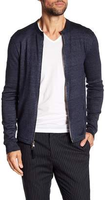 John Varvatos Collection Jersey Rib Zip-Up Sweater