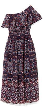 Vince Camuto Floral-print One-shoulder Midi Dress