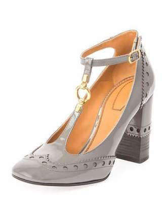 Chloé Perry Patent 95mm T-Strap Pump, Dusty Gray