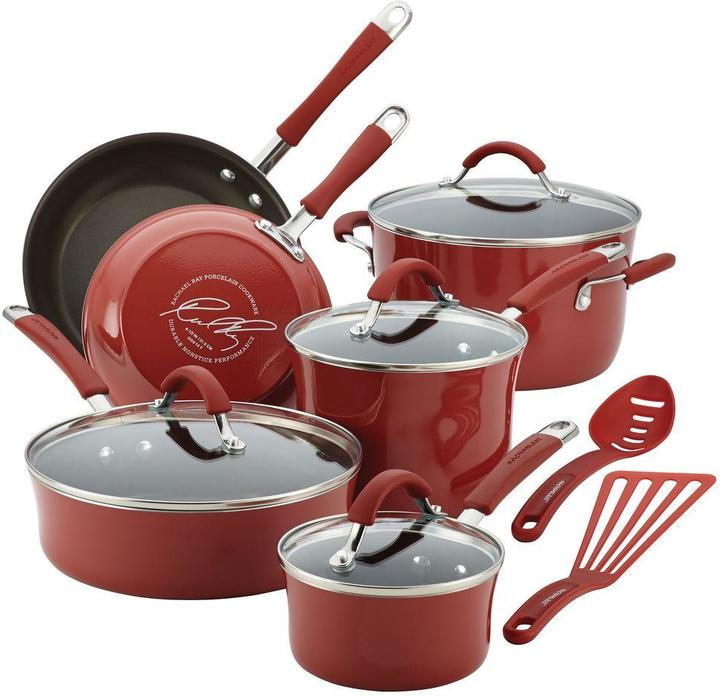 Rachael Ray Cucina Hard Enamel Nonstick 12-Piece Cookware Set in Cranberry Red