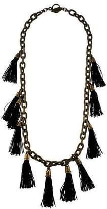 Lela Rose Crystal & Tassel Chain-Link Station Necklace