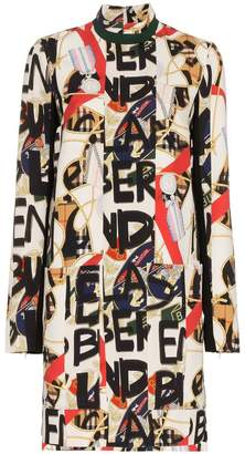 Burberry 'Stone' high neck front pocket silk-blend dress