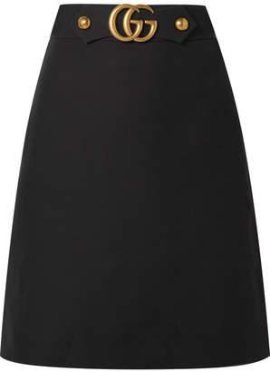 Gucci Embellished Wool And Silk-blend Skirt - Black