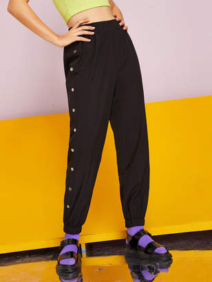 Shein Solid Side Button Elastic Waist Sweatpants