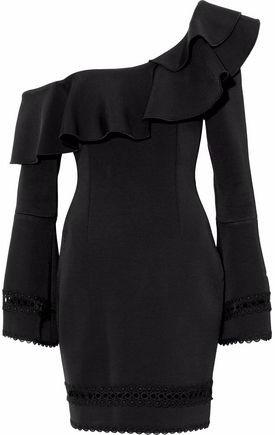 Nicholas One-Shoulder Eyelet-Trimmed Ruffled Cady Mini Dress