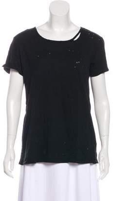 RtA Denim Distressed Short Sleeve Top