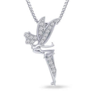 ENCHANTED FINE JEWELRY BY DISNEY Enchanted Disney Fine Jewelry 1/10 C.T. T.W. Genuine Diamond Tinker Bell Pendant Necklace In Sterling Silver
