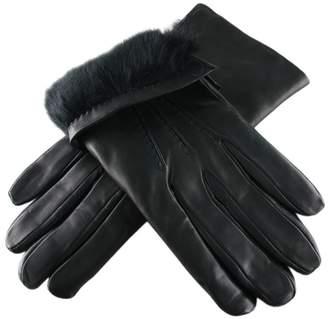 Black Rabbit Fur Lined Leather Gloves