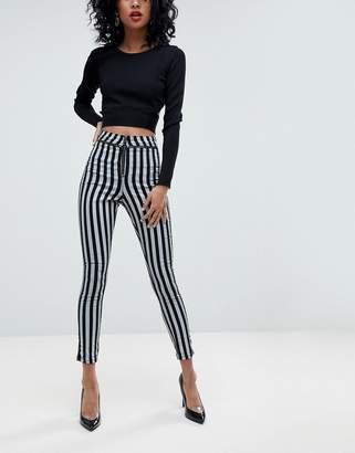 Asos Design DESIGN Rivington high waist denim jeggings with exposed zips in stripe