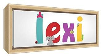 Camilla And Marc Feel Good Art Framed Box Canvas with Solid Natural Wooden Surround in Cute Illustrative Design Girl's Name (19 x 46 x 3 cm, Small, Lexi)