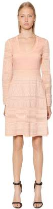 M Missoni Intarsia Cotton Knit Long Sleeve Dress