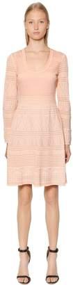 M Missoni Intarsia Cotton Knit Long Sleeve Dress