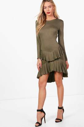 boohoo Ruffle Dipped Back Fit & Flare Dress