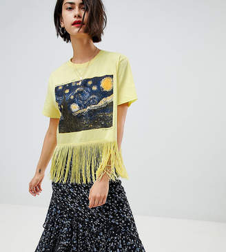 Reclaimed Vintage inspired print t-shirt with fringing