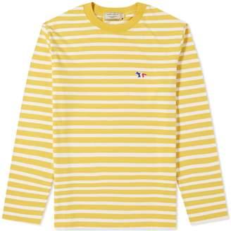 MAISON KITSUNÉ Long Sleeve Stripe Tricolour Fox Patch Tee