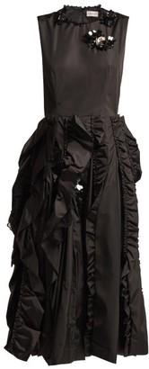 Simone Rocha 4 Moncler Ruffled Midi Dress - Womens - Black