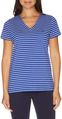 Nautica Stripe Short Sleeve V-Neck Tee Lapis Tide