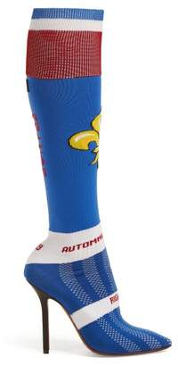 Vetements Fleur De Lis Jacquard Knee High Sock Boots - Womens - Blue Multi