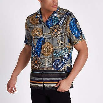 River Island Mens Grey check baroque print revere shirt