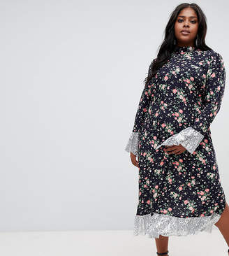 Asos DESIGN Curve ditsy print midi dress with long sleeves and sequin hem and cuff detail