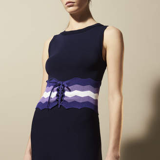 Sandro Knit dress with coloured corset effect