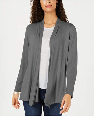 Karen Scott Draped Open-Front Cardigan
