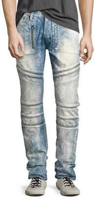 PRPS Demon Bleached Slim-Straight Moto Jeans, Lake (Medium Blue)