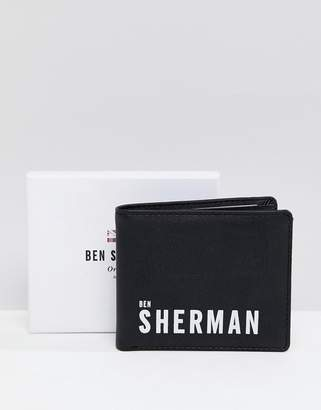 Ben Sherman logo pu wallet in black and white