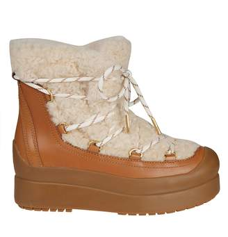 Tory Burch Fur Trim Ankle Boots