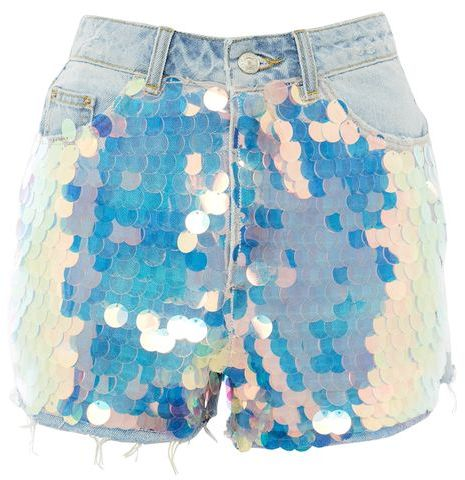 Topshop Topshop Moto sequin mom shorts