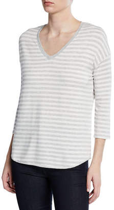 Neiman Marcus Majestic Paris for Striped V-Neck 3/4-Sleeve Sweater