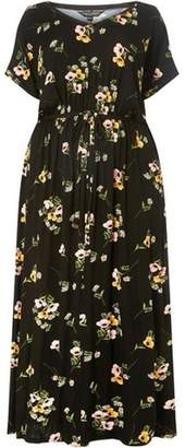 Dorothy Perkins Womens **DP Curve Black Daisy Jersey Maxi Dress