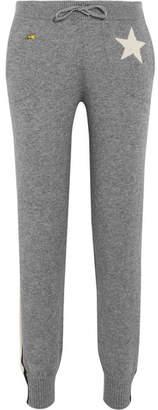Bella Freud Billie Intarsia Metallic-trimmed Cashmere-blend Track Pants - Gray
