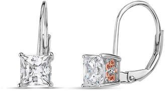 Swarovski FINE JEWELRY Sterling Silver Two-Tone Square Filigree Sides Leverback Earrings featuring Zirconia