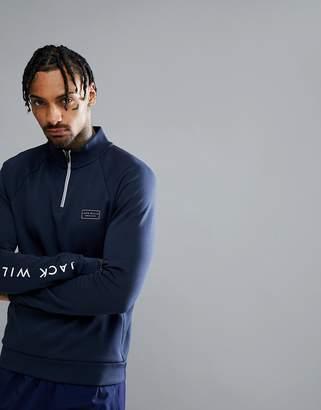 Jack Wills Sporting Goods Bayswell Half Zip Pop Over Sweater In Navy