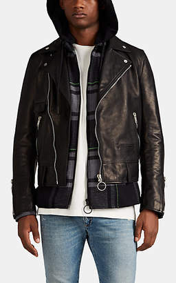 Off-White Men's Spray-Paint-Logo Leather Moto Jacket - Black