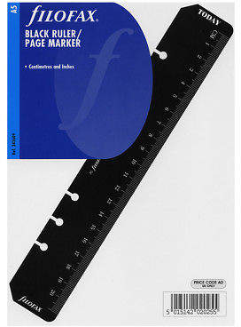Filofax NEW A5 Black Ruler/Page Marker