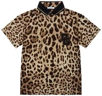 Dolce & Gabbana Leopard Print Polo Shirt