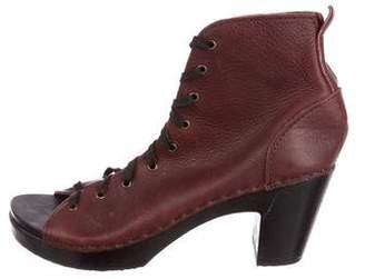 PeepToe No.6 Leather Peep-Toe Booties