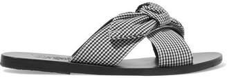Ancient Greek Sandals Thais Bow-embellished Gingham Cotton Slides - Black