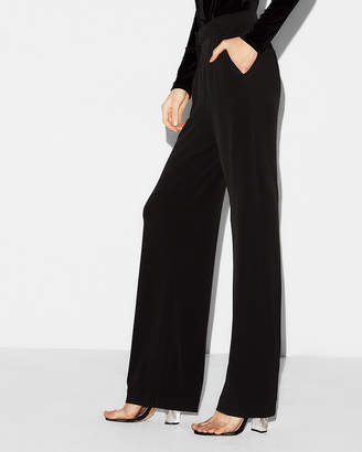 Express Petite Mid Rise Knit Wide Leg Pant