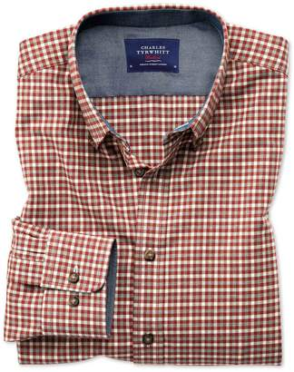Charles Tyrwhitt Slim Fit Button-Down Soft Cotton Rust Multi Check Casual Shirt Single Cuff Size XS