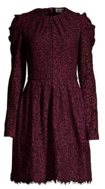 MICHAEL Michael Kors Mesh Floral Lace Long-Sleeve A-Line Dress