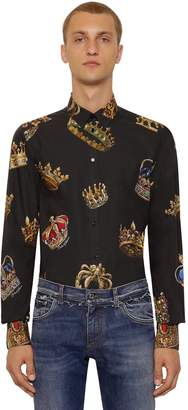 Dolce & Gabbana Stretch Crown Print Cotton Poplin Shirt
