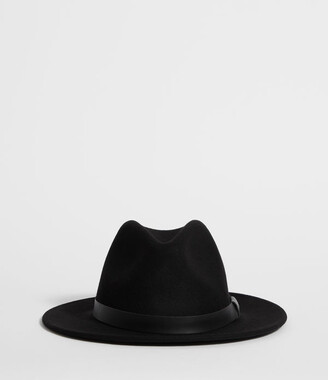 AllSaints Bronson Leather Fedora Hat