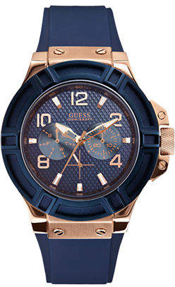 GUESS Blue and Rose Goldtone Watch