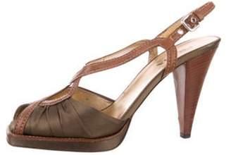 Prada Satin Slingback Sandals Olive Satin Slingback Sandals