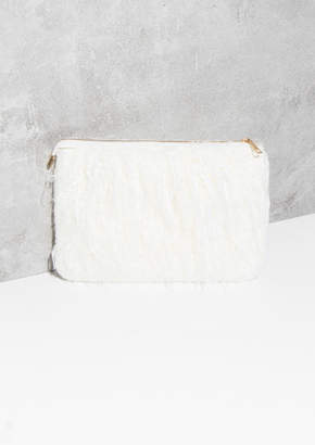 c5aa4b58d91a Missy Empire Missyempire Carma Cream Shaggy Faux Fur Clutch Bag