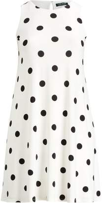 Ralph Lauren Polka-Dot Jersey A-Line Dress